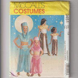 McCalls Costumes PATTERN 9451 Girls Genie Egyptian